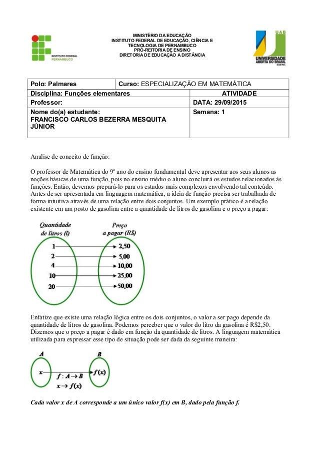 MINISTÉRIO DA EDUCAÇÃO INSTITUTO FEDERAL DE EDUCAÇÃO, CIÊNCIA E TECNOLOGIA DE PERNAMBUCO PRÓ-REITORIA DE ENSINO DIRETORIA ...