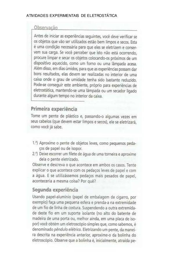 ATIVIDADES EXPERIMENTAIS DE ELETROSTÁTICA