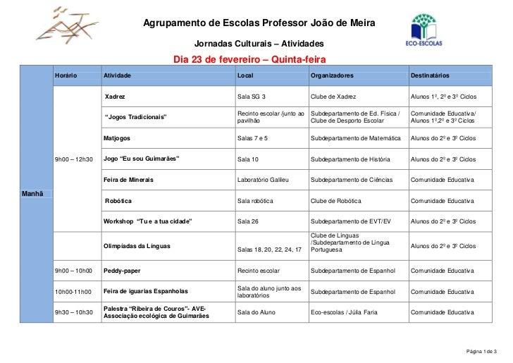 Agrupamento de Escolas Professor João de Meira                                                      Jornadas Culturais – A...