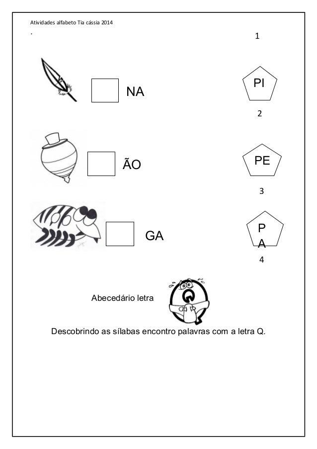 Atividades letras do alfabeto 2014