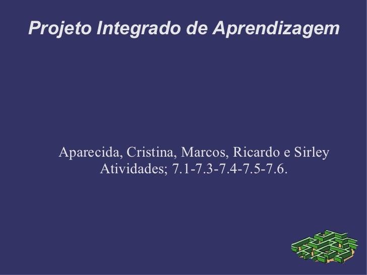 Projeto Integrado de Aprendizagem Aparecida, Cristina, Marcos, Ricardo e Sirley Atividades; 7.1-7.3-7.4-7.5-7.6.