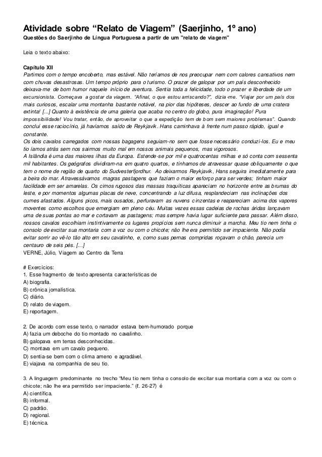 """Atividade sobre """"Relato de Viagem"""" (Saerjinho, 1º ano) Questões do Saerjinho de Língua Portuguesa a partir de um """"relato d..."""