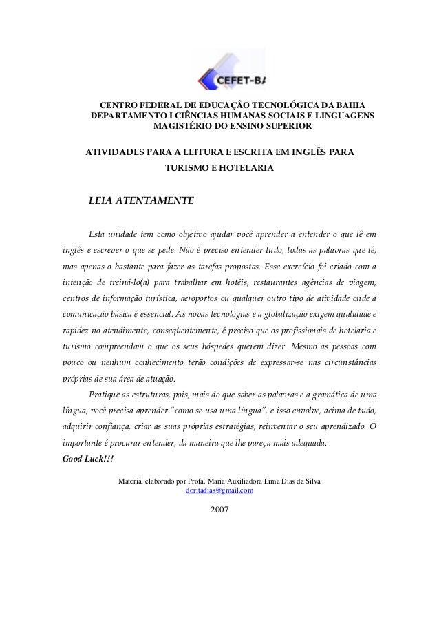 CENTRO FEDERAL DE EDUCAÇÂO TECNOLÓGICA DA BAHIA       DEPARTAMENTO I CIÊNCIAS HUMANAS SOCIAIS E LINGUAGENS                ...