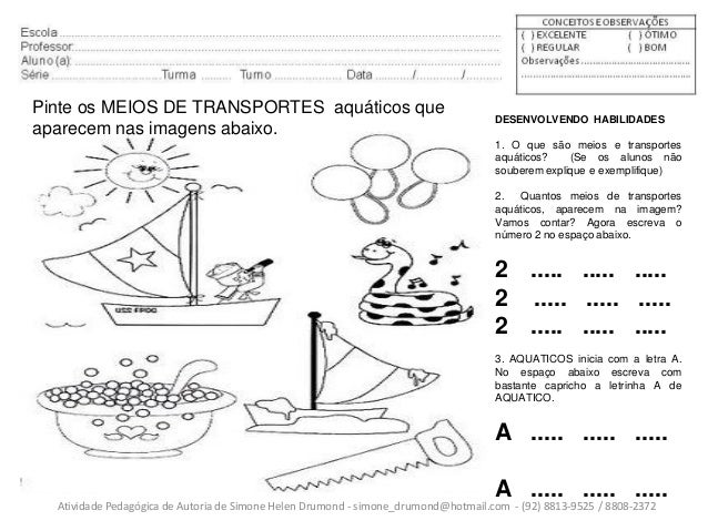 Extremamente Atividades pedagogicas meios de transportes 2 de simone helen drumond JC36