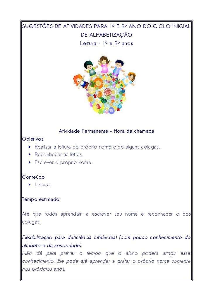 SUGESTÕES DE ATIVIDADES PARA 1º E 2º ANO DO CICLO INICIAL                            DE ALFABETIZAÇÃO                     ...