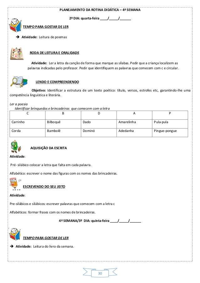 Atividades Sequenciadas Para Alfabetizar Letrando