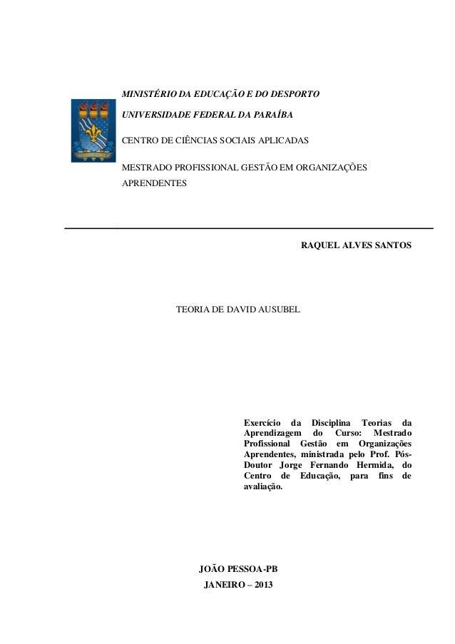 MINISTÉRIO DA EDUCAÇÃO E DO DESPORTO UNIVERSIDADE FEDERAL DA PARAÍBA CENTRO DE CIÊNCIAS SOCIAIS APLICADAS MESTRADO PROFISS...