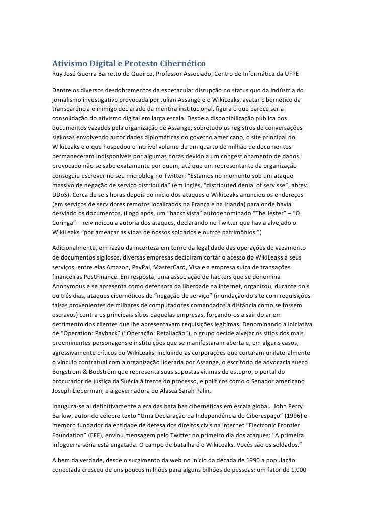 Ativismo Digital e Protesto CibernéticoRuy José Guerra Barretto de Queiroz, Professor Associado, Centro de Informática da ...