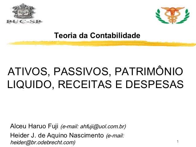 Teoria da Contabilidade  ATIVOS, PASSIVOS, PATRIMÔNIO  LIQUIDO, RECEITAS E DESPESAS  1  Alceu Haruo Fuji (e-mail: ahfuji@u...