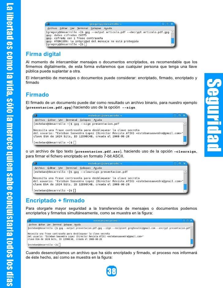 Listado de comandos disponibles            Listado de claves          Detalles del fingerprint           Firma de una clave