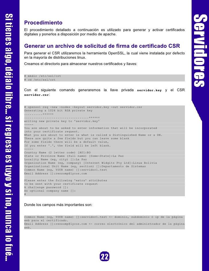 Referencias [1]   http://httpd.apache.org/ [2]   http://openssl.org/   Autor     Renzo Martinez Pardo Ingeniero Sistemas E...
