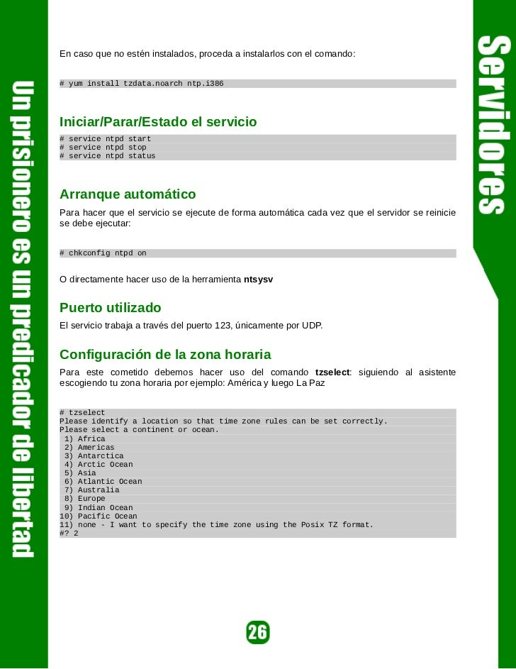 Para restringir, se usan las siguientes instrucciones:restrict 127.0.0.1restrict -4 ::1 // para IP 4restrict -6 ::1 // par...