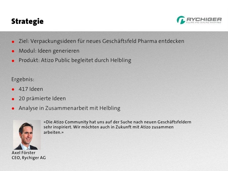Strategie  ● Ziel: Verpackungsideen für neues Geschäftsfeld Pharma entdecken ● Modul: Ideen generieren ● Produkt: Atizo Pu...
