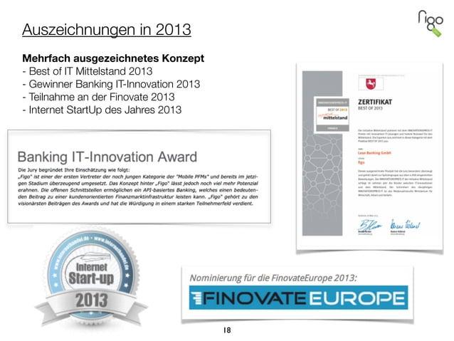 Auszeichnungen in 2013  Mehrfach ausgezeichnetes Konzept - Best of IT Mittelstand 2013 - Gewinner Banking IT-Innovation 2...