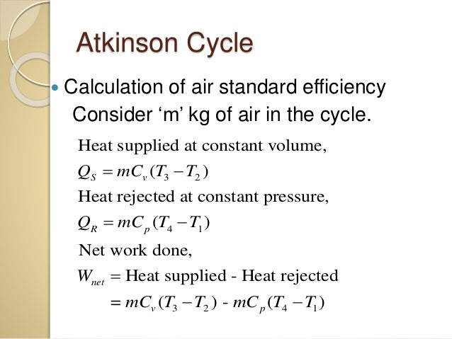 Atkinson Cycle Ericsson Cycle And Stirling Cycle