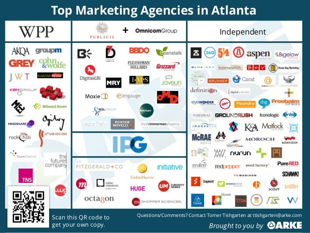 Independent Top Marketing Agencies in Atlanta Scan this QR code to get your own copy. Questions/Comments? Contact Tomer Ti...