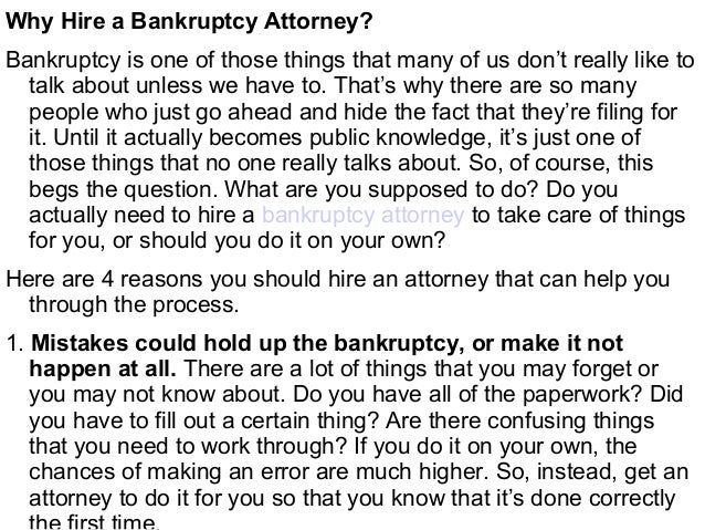 Why You Should Hire A Bankruptcy Attorney