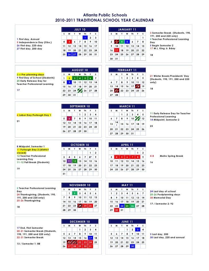 Atlanta Public Schools                                    2010-2011 TRADITIONAL SCHOOL YEAR CALENDAR                      ...