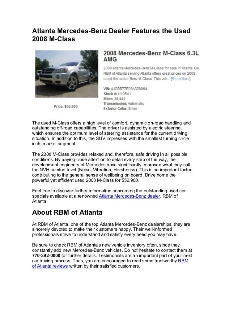 Atlanta mercedes benz dealer introduces amazing used car for Atlanta mercedes benz dealers