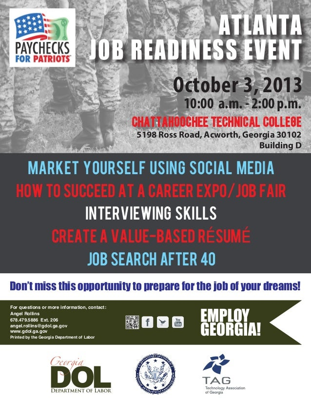 October 3, 2013 10:00 a.m. - 2:00 p.m. MARKET YOURSELF USING SOCIAL MEDIA HOW TO SUCCEED AT A CAREER EXPO/JOB FAIR INTERVI...