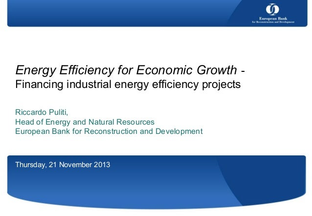 Energy Efficiency for Economic Growth Financing industrial energy efficiency projects Riccardo Puliti, Head of Energy and ...