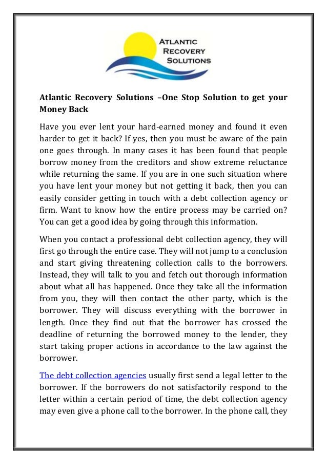 One Stop Solutions In Budget: Atlantic Recovery Solutions One Stop Solution To Get Your