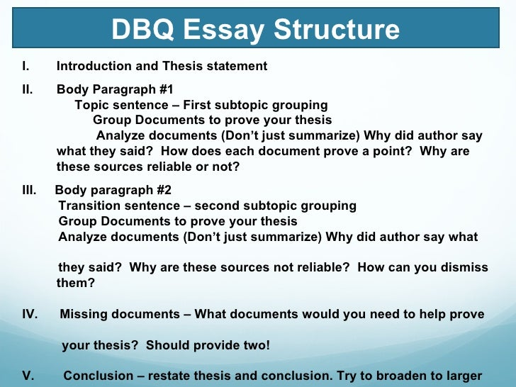 writing dbq thesis statement How to write a dbq  this handout describes what a thesis statement is, how  thesis statements work in your writing, and how you  writing in college often  takes the form of persuasion—convincing others that you have an interesting,  logical.