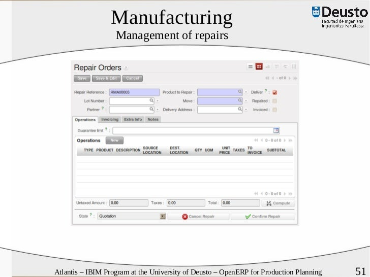 Open ERP for production planning