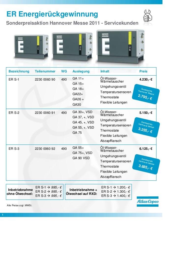 ER Energierückgewinnung    Sonderpreisaktion Hannover Messe 2011 - Servicekunden                                          ...