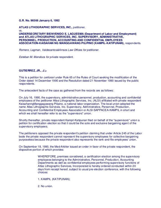 G.R. No. 96566 January 6, 1992ATLAS LITHOGRAPHIC SERVICES, INC., petitioner,vs.UNDERSECRETARY BIENVENIDO E. LAGUESMA (Depa...