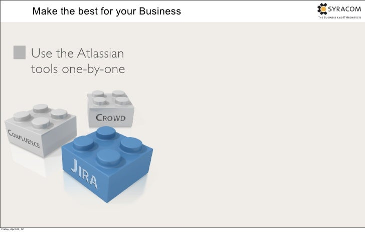 Make the best for your Business                       Use the Atlassian                       tools one-by-oneFriday, Apri...