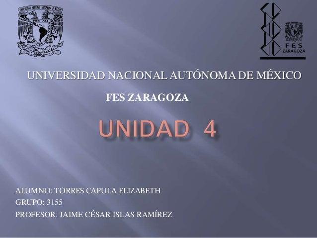 UNIVERSIDAD NACIONAL AUTÓNOMA DE MÉXICO                    FES ZARAGOZAALUMNO: TORRES CAPULA ELIZABETHGRUPO: 3155PROFESOR:...
