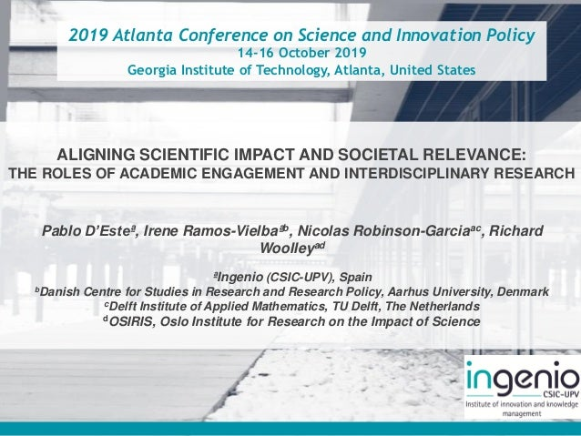 2019 Atlanta Conference on Science and Innovation Policy 14-16 October 2019 Georgia Institute of Technology, Atlanta, Unit...