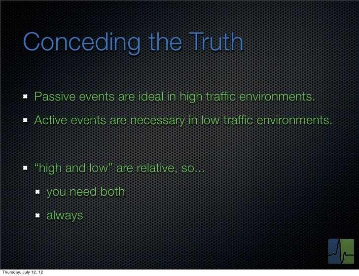 Conceding the Truth                Passive events are ideal in high traffic environments.                Active events are ...
