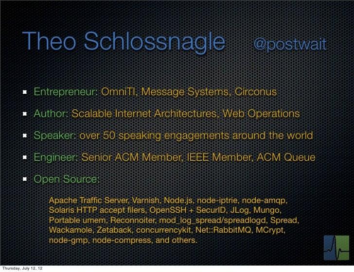 Theo Schlossnagle                                                @postwait                Entrepreneur: OmniTI, Message Sy...