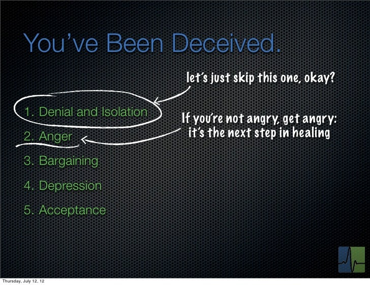 You've Been Deceived.                                    let's just skip this one, okay?          1. Denial and Isolation ...
