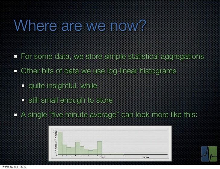 Where are we now?                For some data, we store simple statistical aggregations                Other bits of data...