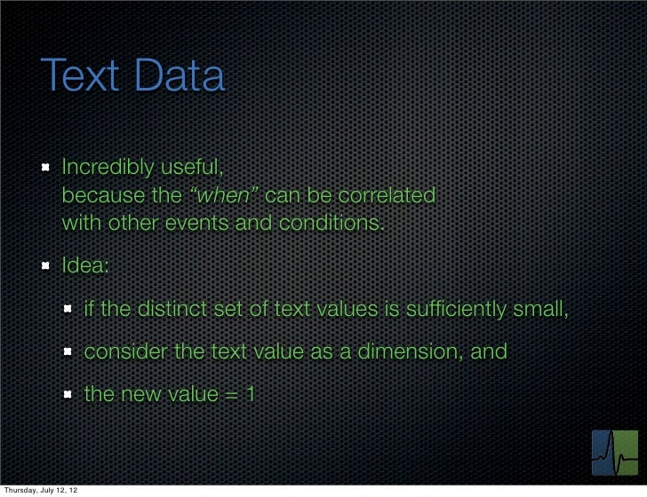 """Text Data                Incredibly useful,                because the """"when"""" can be correlated                with other ..."""