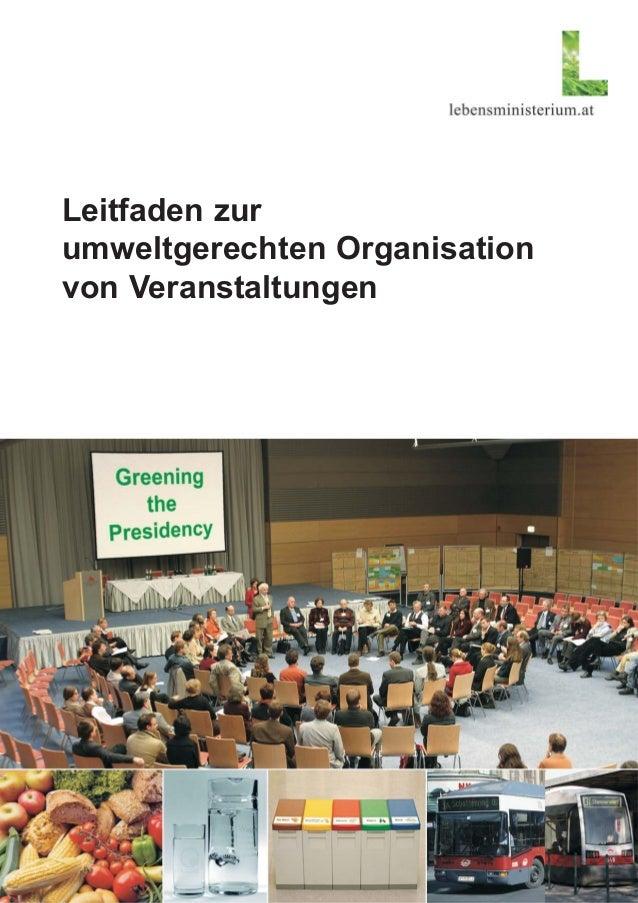 Leitfaden zur umweltgerechten Organisation von Veranstaltungen
