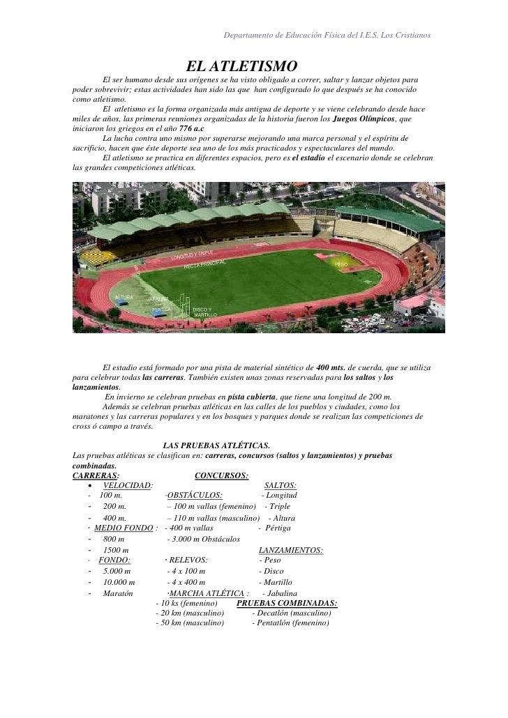 Departamento de Educación Física del I.E.S. Los Cristianos                                     EL ATLETISMO           El s...