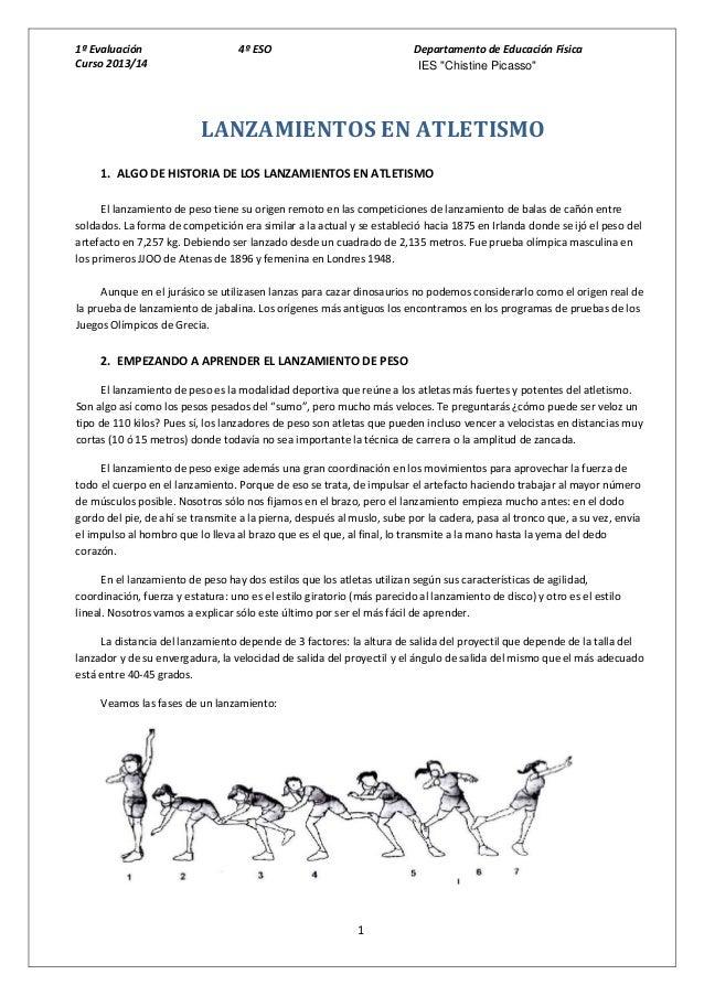 """1ª Evaluación Curso 2013/14  4º ESO  Departamento de Educación Física IES """"Chistine Picasso""""  LANZAMIENTOS EN ATLETISMO 1...."""