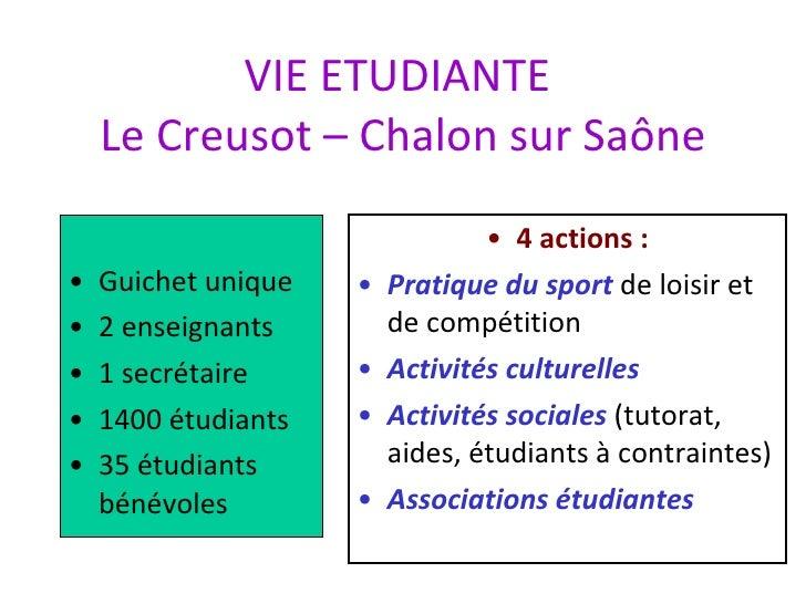VIE ETUDIANTE  Le Creusot – Chalon sur Saône <ul><li>Guichet unique </li></ul><ul><li>2 enseignants </li></ul><ul><li>1 se...