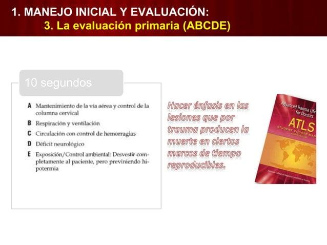 1. Vía aérea con control de columna cervical • ¿Permeable? • Inspección. • Maniobras con protección de columna cervical. •...