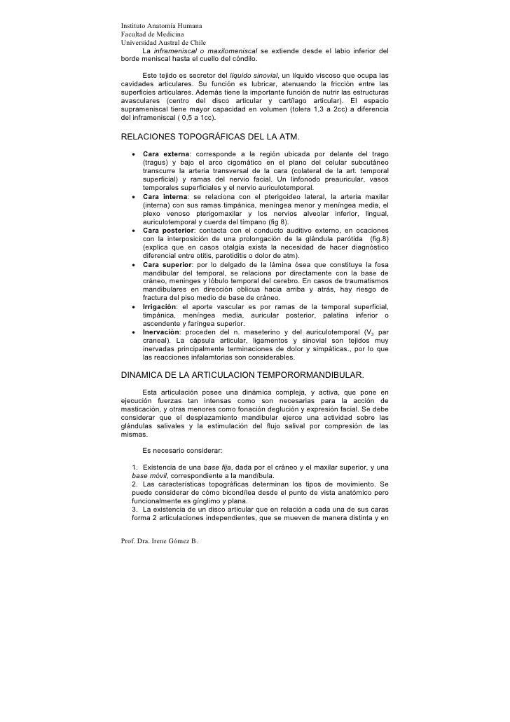 Instituto Anatomía HumanaFacultad de MedicinaUniversidad Austral de Chile        La inframeniscal o maxilomeniscal se exti...