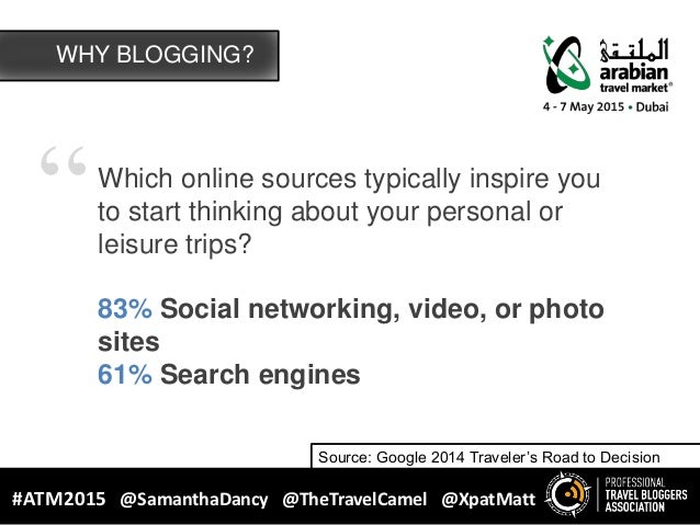 """""""Which online sources typically inspire you to start thinking about your personal or leisure trips? 83% Social networking,..."""