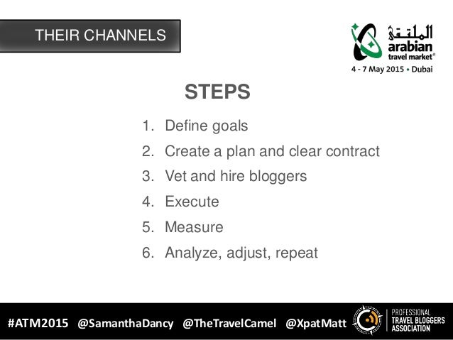 STEPS 1. Define goals 2. Create a plan and clear contract 3. Vet and hire bloggers 4. Execute 5. Measure 6. Analyze, adjus...