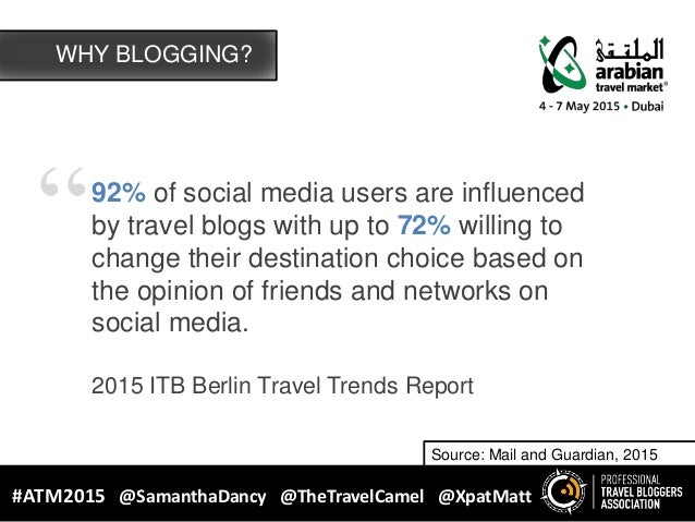 """""""92% of social media users are influenced by travel blogs with up to 72% willing to change their destination choice based ..."""