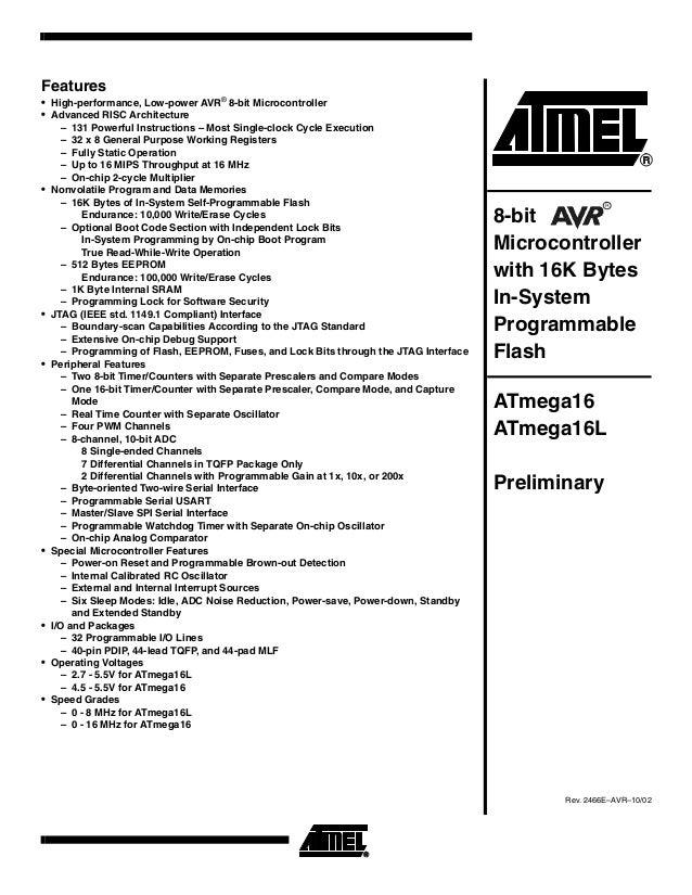 Atmega16 Microconntroller Data sheet