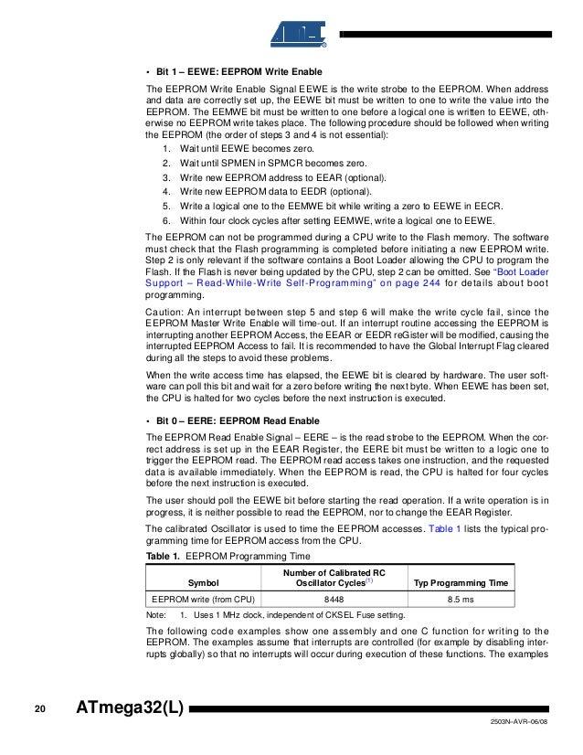 Reading and writing Atmega168 EEPROM