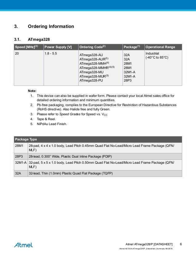 Atmel 42735-8-bit-avr-microcontroller-a tmega328-328-p_summary